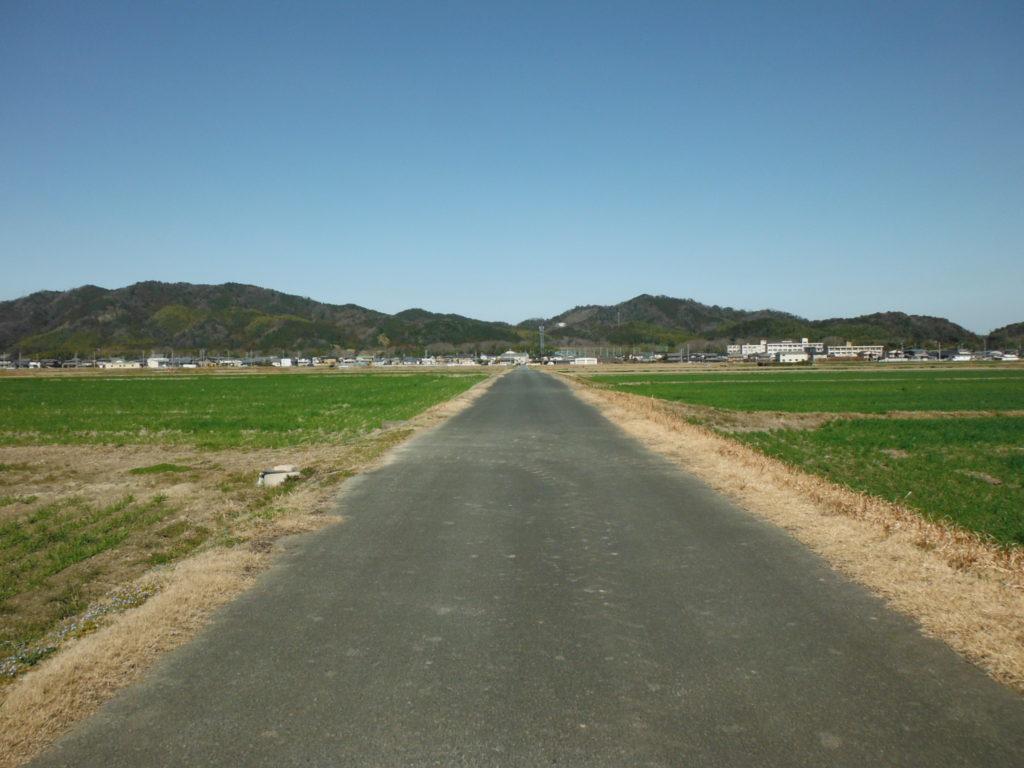 山、空をバックにまっすぐな農道。