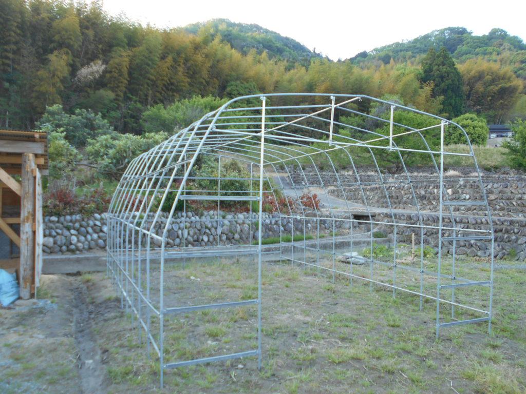 山をバックに、パイプハウスの骨組みが完成。