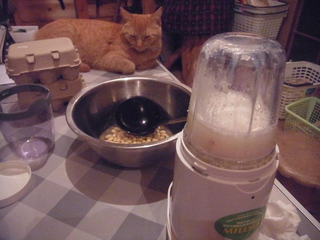 浸した大豆をミルサーにかける。
