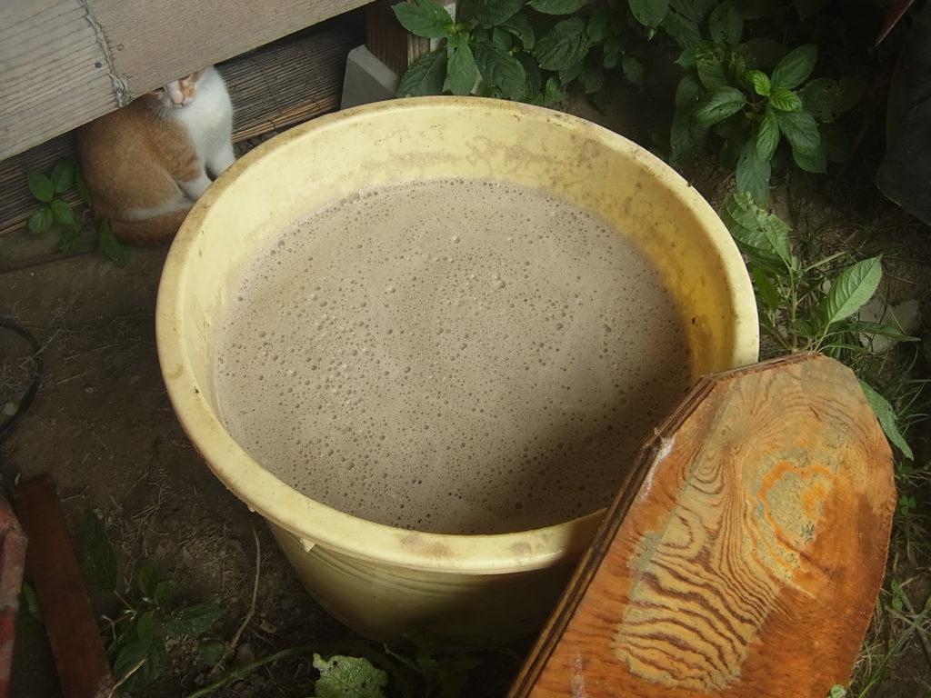 灰の入った樽に水を入れる。