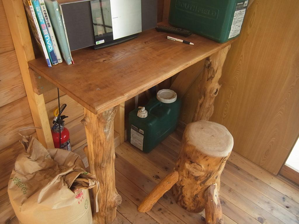木製のデスクに、丸太椅子。