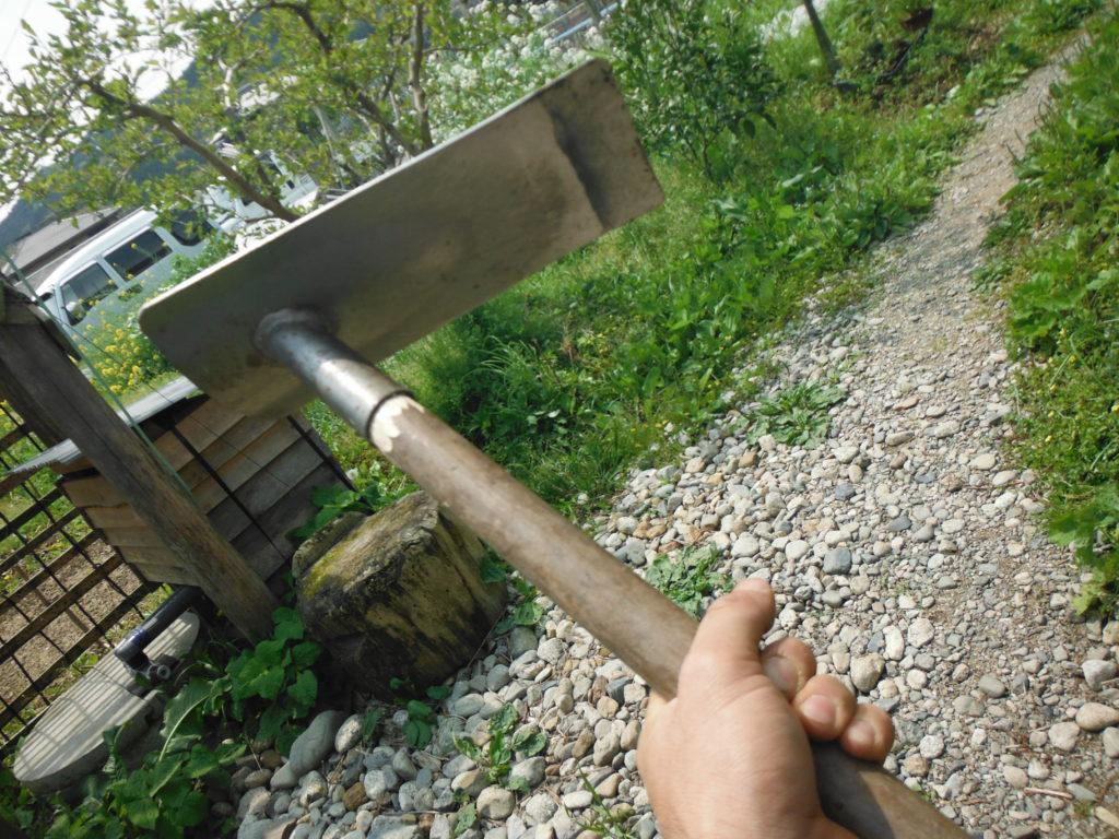 鍬の柄の修理完了。