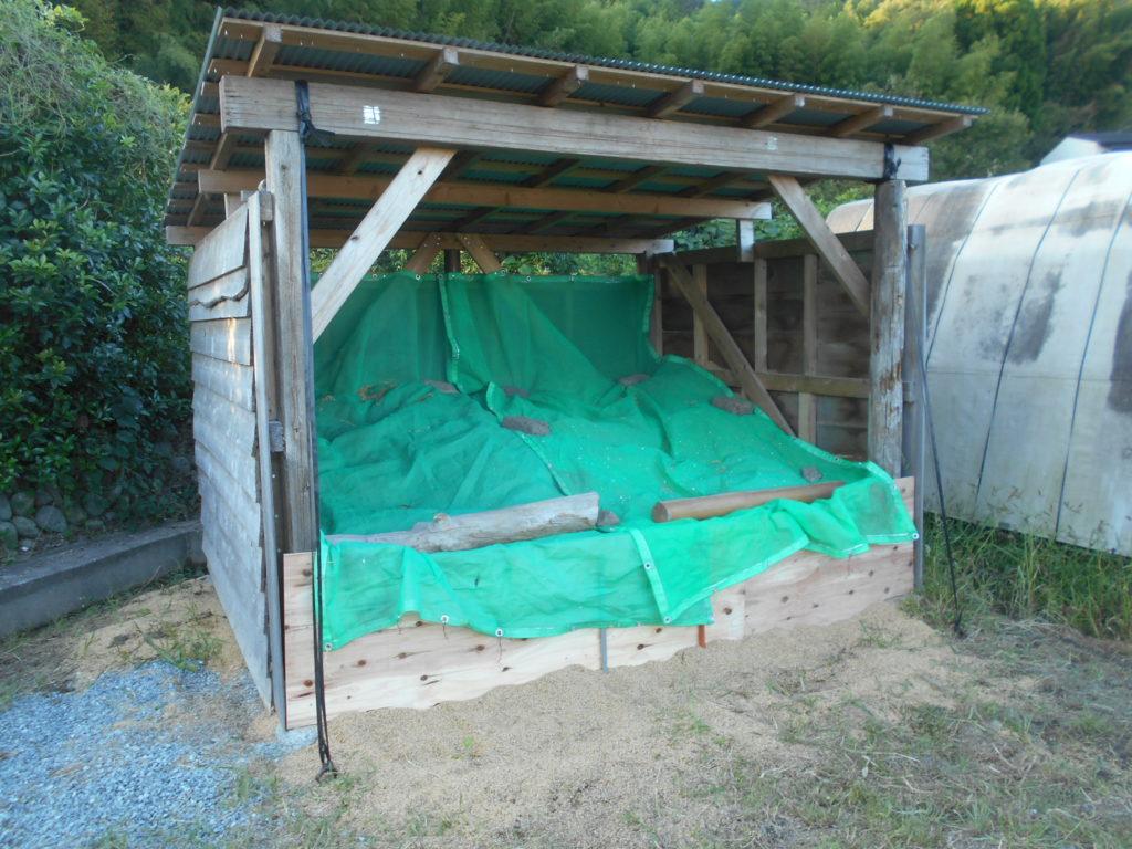 もみ殻に網をかぶせて保護。