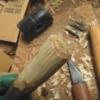 ゴムハンマー、折れた柄の交換。