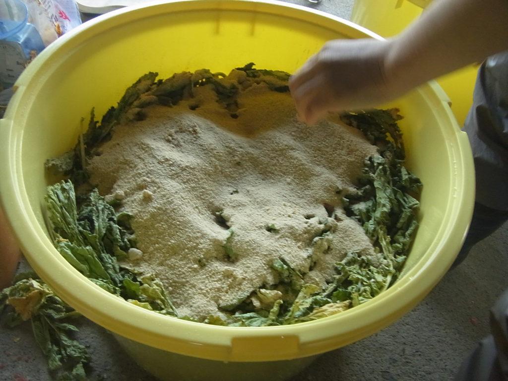 最後に残った米ぬかを全部入れる。