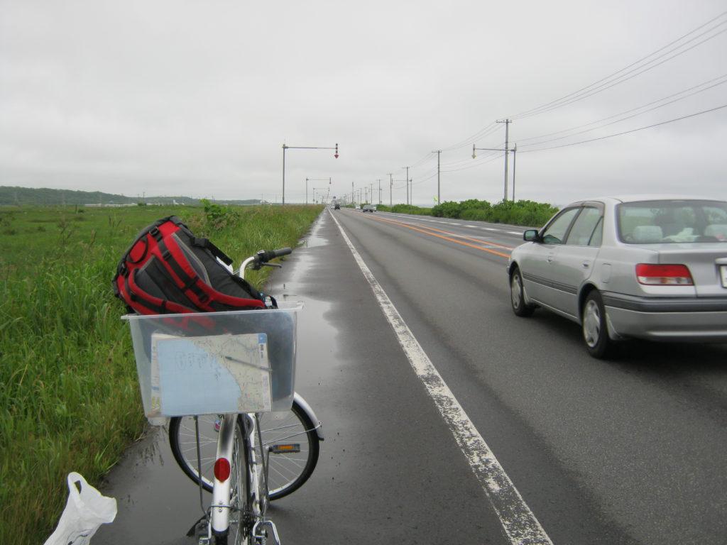 ママチャリと北海道の道。