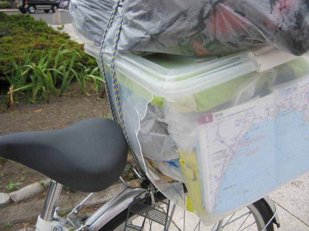 自転車の荷台につけた箱が壊れる。