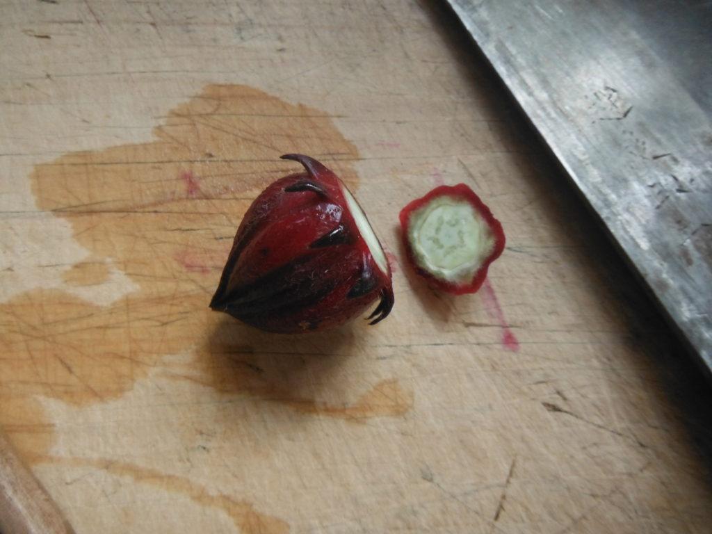 ローゼルの実を包丁で切る。