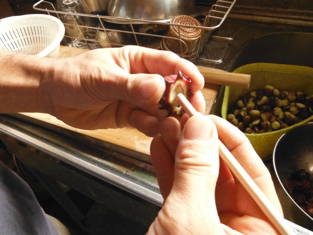 ローゼルを赤い萼と苞の部分に分ける。