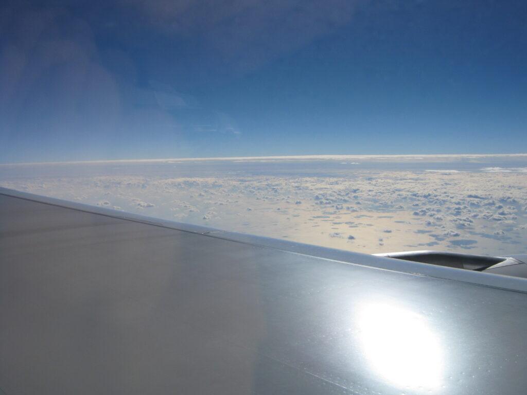 タイへ向かう飛行機からの風景。