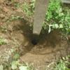 掘立柱の木製パーゴラの補修。