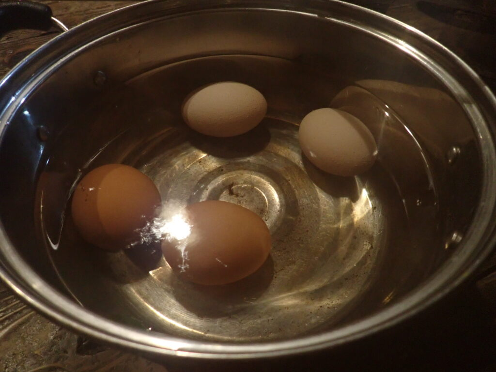 鍋に卵を4個入れる。